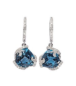 Effy® Ocean Bleu Collection London Blue Topaz & .25 ct. tw.  Diamond Earrings In 14K White Gold