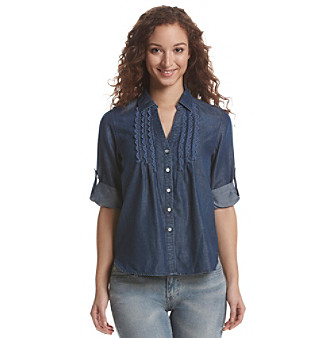 Vintage America Blues™ Denim Roll Tab Top plus size,  plus size fashion plus size appare