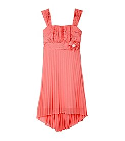 A. Byer Girls' 7-16 Pleated High-Low Dress