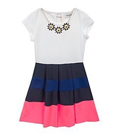 Tween Diva by Rare Editions Girls' 7-16 Short Sleeve Colorblock Scuba Dress