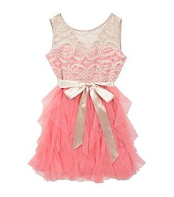 Rare Editions® Girls' 7-16 Mesh Ruffle Dress