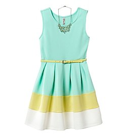 Beautees Girls' 7-16 Sleeveless Colorblock Scuba Dress