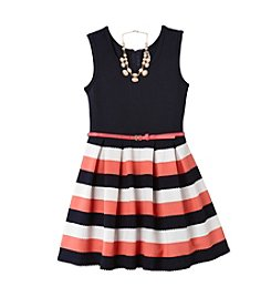 Beautees Girls' 7-16 Sleeveless Striped Dress