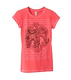 Beautees Girls' 7-16 Short Sleeve Tropical Elephant Tee