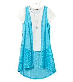 Speechless® Girls' 7-16 Short Sleeve Tee With Crochet Duster