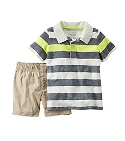 Carter's® Baby Boys 2-Piece Striped Polo And Khaki Shorts Set
