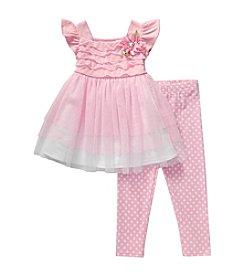 Sweet Heart Rose® Baby Girls' Mesh Ruffle Top And Printed Leggings Set