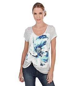 Lucky Brand® Painted Floral Tee