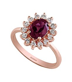 Effy® Bordeaux Collection Rhodalite & .25ct. t.w. Diamond Ring in 14K Rose Gold