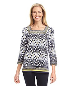 Alfred Dunner® Sausalito Etched Diamond Border Knit Top