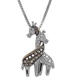 Sterling Silver and 14k Yellow Gold Giraffe Pendant