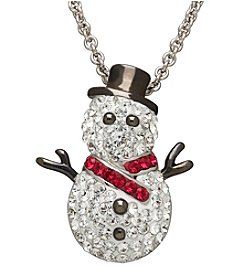 Impressions® Sterling Silver Snowman Pendant with Swarovski® Crystal