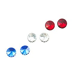 Studio Works® Goldtone, Red, White and Blue Stud Earrings Set