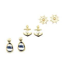 Studio Works® Goldtone, Navy and White Striped Nautical Trio Earrings Set