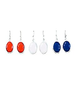 Studio Works® Silvertone and Multicolor Faceted Oval Channel Drop Trio Earrings Set