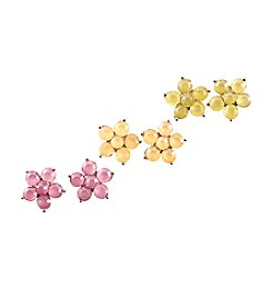 Studio Works® Silvertone and Multicolor Flower Stud Trio Earrings Set