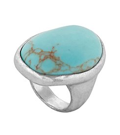 Lucky Brand® Major Silvertone and Turquoise Ring