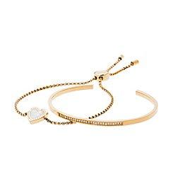 Michael Kors Goldtone Mother-Of-Pearl Clear Slider Bracelet Set