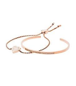 Michael Kors Rose Goldtone Mother-Of-Pearl Clear Slider Bracelet Set