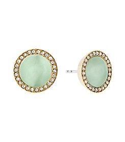 Michael Kors Goldtone Mint Acetate Clear Pave Earrings