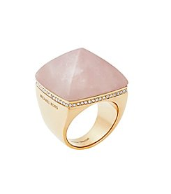 Michael Kors Rose Goldtone Blush Clear Ring