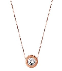 Michael Kors Rose Goldtone Clear Necklace