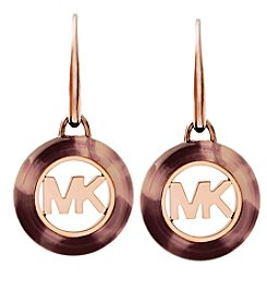 Michael Kors Rose Goldtone Blush Tortoise Earrings