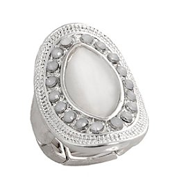 Erica Lyons® Silvertone Glamorous Oval Stretch Ring