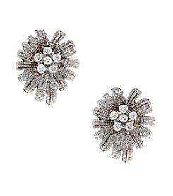 Erica Lyons® Silvertone Textured Flower Clip Earrings