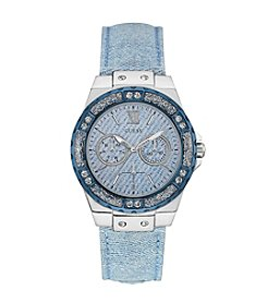 Guess Women's Silvertone Denim Sport Watch