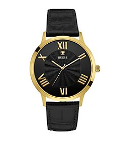 Guess Men's Goldtone Croco Strap Dress Watch