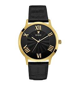 Guess Men's Goldtone Croco Strap Dress Watch