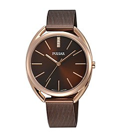 Pulsar® Women's Easy Style Collection Rose Goldtone with Brown Bracelet