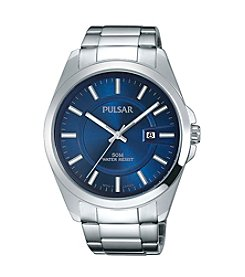 Pulsar® Men's Business Collection Silvertone with Blue Dial