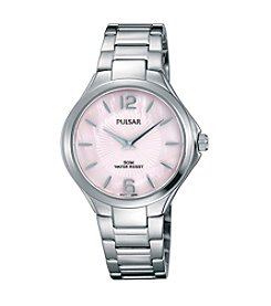Pulsar® Women's Night Out Collection Silvertone with Pink Dial