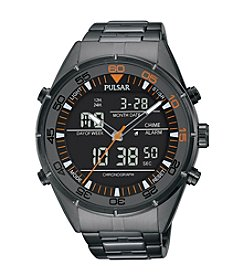 Pulsar® Men's On the Go Collection with Analog/Digital Display Grey Ion Finish Chronograph