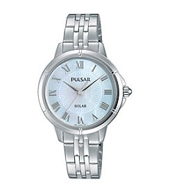 Pulsar® Women's Easy Style Solar Silvertone Watch with Mother-of-Pearl Dial