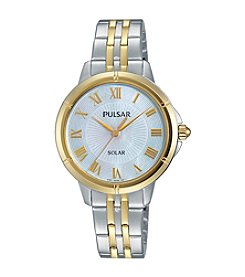 Pulsar® Women's Easy Style Solar Two-Tone Watch with Mother-of-Pearl Dial