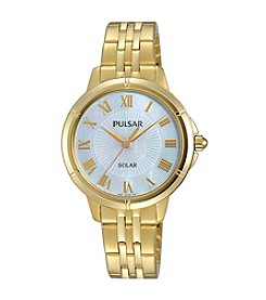 Pulsar® Women's Easy Style Solar Goldtone Watch with Mother-of-Pearl Dial
