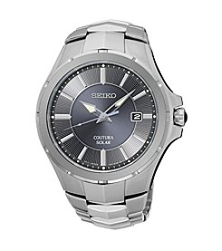 Seiko® Men's Courtura Solar Silvertone Watch
