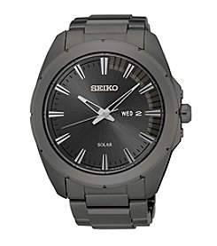 Seiko® Men's Recraft Solar Grey Ion Finish Watch