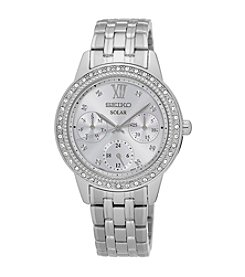 Seiko® Women's Recraft Solar Silvertone Watch with Swarovski® Crystals