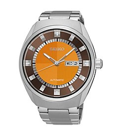 Seiko® Men's Recraft Automatic Watch Silvertone with Orange Dial