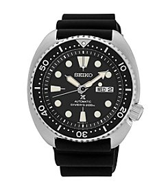 Seiko® Men's Automatic Diver Watch with Black Silicone Strap