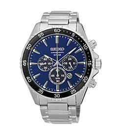 Seiko® Men's Solar Chronograph Silvertone Watch with Blue Dial