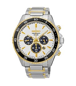 Seiko® Men's Solar Chronograph Two-Tone Watch with Black Bezel