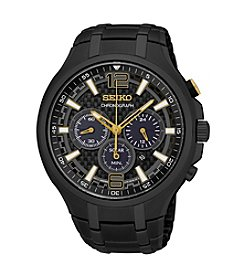 Seiko® Men's Recraft Solar Chronograph Black Ion Finish Watch