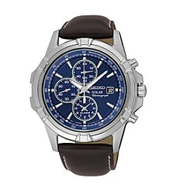 Seiko® Men's Solar Alarm Chronograph Watch with Brown Leather Strap