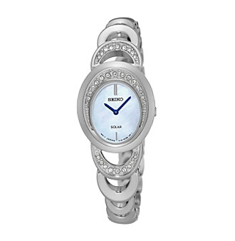 Seiko® Women's Solar Watch with Mother-of-Pearl Dial and