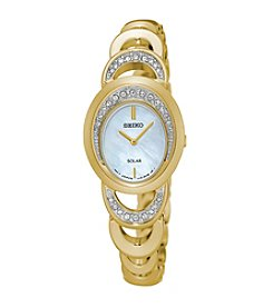 Seiko® Women's Solar Watch with Mother-of-Pearl Dial and Swarovski® Crystal Accents